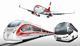 Bus, Reisebus, Flugzeug, Schnellzug, Transport, Verkehrsmittel