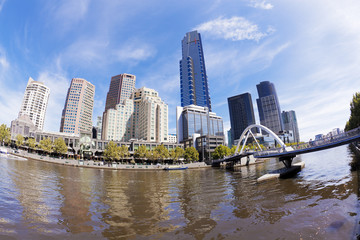 View of Southbank area in Melbourne CBD