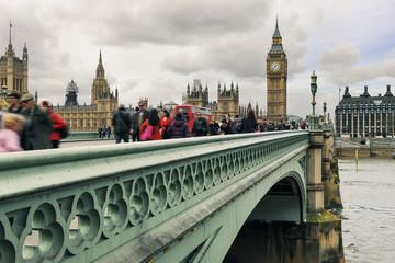 People walking on Westminster Bridge.