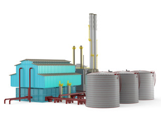 Factory building model with oil storage tank