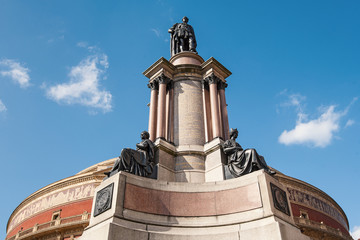 Statue of Royal Albert Hall in London. It is a concert hall in S