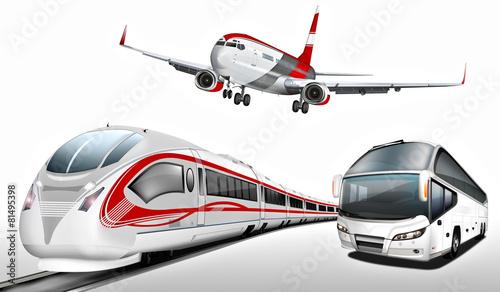 Naklejka Bus, Reisebus, Flugzeug, Schnellzug, Transport, Verkehrsmittel