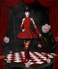Beautiful clown in a surreal stage