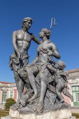 Statues vintage Rococo era. In the park Queluz.