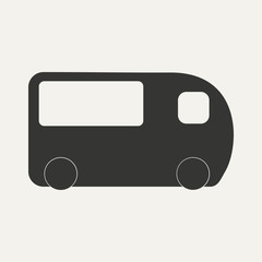 Flat in black and white mobile application minibus