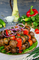Grilled skewers of mushrooms and vegetables
