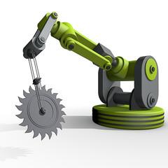 Zaagmachine met robotarm