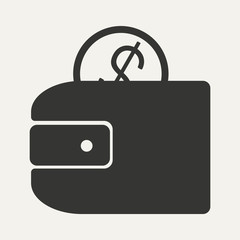 Flat in black and white mobile application wallet