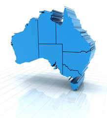Extruded Australia map with state borders