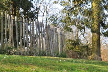 enclos en bois naturel