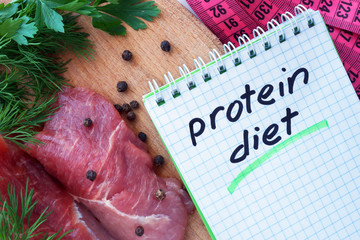 Notepad with protein diet and fresh meat