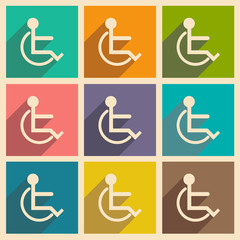 Flat with shadow icon and mobile applacation wheelchair