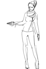 vector sketch of a woman is pointing direction