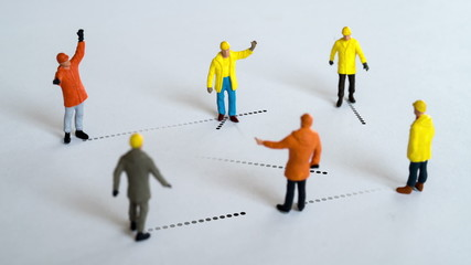 Group of workers networking.