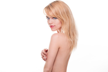 Young Blond Woman Posing Nude in Studio