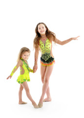 Beautiful sisters little gymnasts