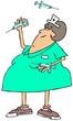 Nurse juggling syringes