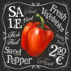 sweet pepper vector logo design template. fresh vegetables, food