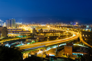 night view of taipei in nangang with traffic trails