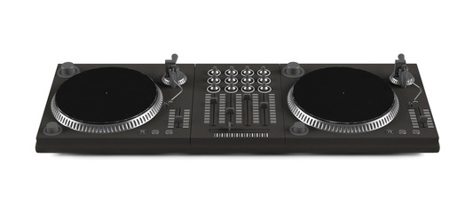 Wide DJ mixer with two vinyls isolated