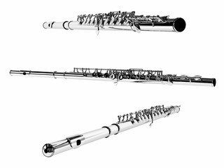 Flute Isolated. Multiple angles of view