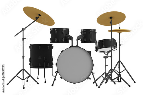 Drums isolated. Black drum kit. - 81499723