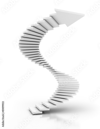 Foto op Canvas Trappen Spiral staircase arrow, 3d render