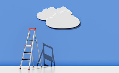 Step-ladder against a blue wall with a cloud