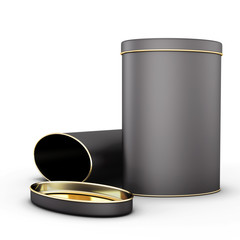 Two black metal tin with place
