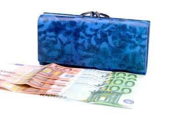 purse and euro  banknotes