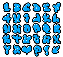 graffiti bubble vector fonts with gloss and outline