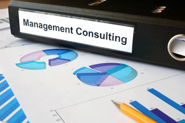 Graphs and file folder with label Management Consulting