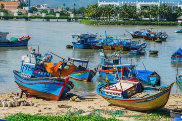 Fishing boats in marina at Vietnam