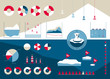 Infographics in the northern style with icebergs