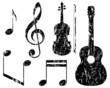 grunge music elements, guitar, violin, treble clef and notes - 81502365