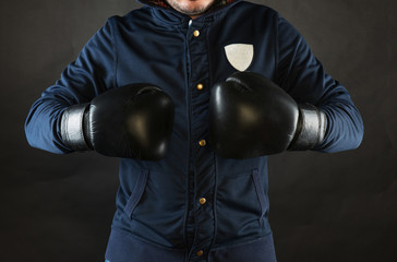 A man with boxing gloves