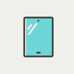 Touch screen tablet thin line icon