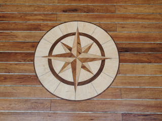 High quality wooden floor of a sailing boat