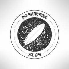 Surfboard label logo made in modern grunge vintage design. T