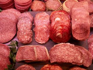 Selection of freshly cut salami