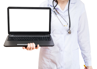 nurse holds computer laptop with cut out screen