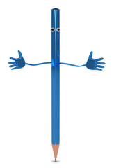 Pencil character isolated
