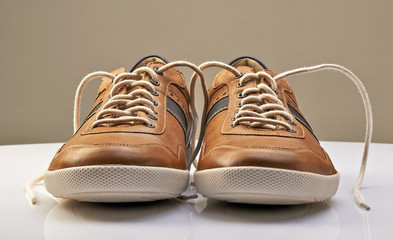 Brown Leather Shoe with white shoelaces open
