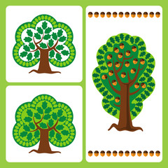 Large stylized oak trees with acorns in the vector