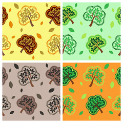 Seamless pattern with tree and leaf