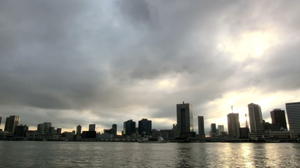 Timelapse of rapid cloudscape over Tokyo
