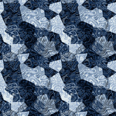 Abstract seamless dark blue marbled pattern