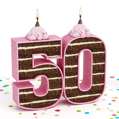 Number 50 shaped chocolate birthday cake with lit candle