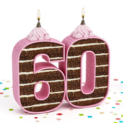 Number 60 shaped chocolate birthday cake with lit candle