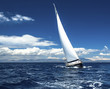 Sailing yacht race, picture with space for logos.